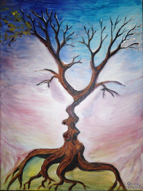 The tree of the kiss, acrylics on canvas painting