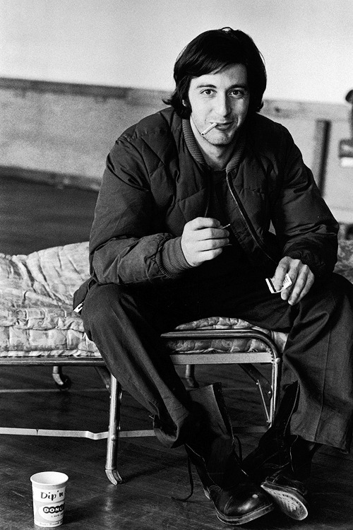 Al Pacino smoking during break fr. play rehearsal photographed by Dirck Halstead