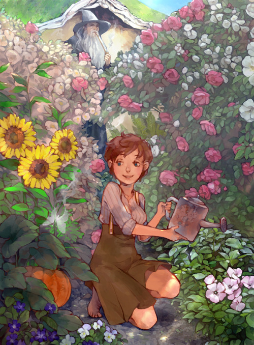 lanimalu:  I felt like drawing fem!Bilbo working in her garden and I was pretty motivated.  Now that's a garden i could call home XD Beautiful ♥