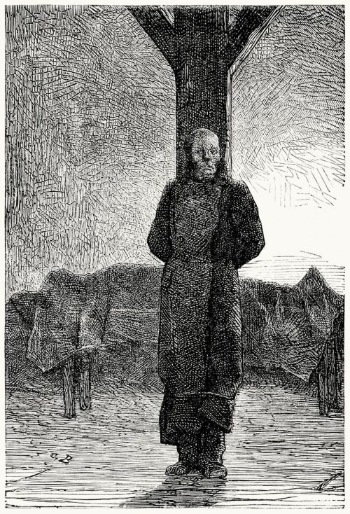 Javert bound to the post.  Gustave Brion, from Les Misérables, by Victor Hugo, Paris, 1867.  (Source: archive.org)