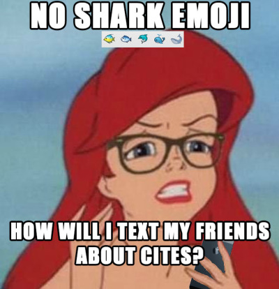 Somehow the lack of shark emoji needs to be fixed. Also, good news this week for sharks: http://www.livescience.com/27809-shark-trade-cites-protection.html