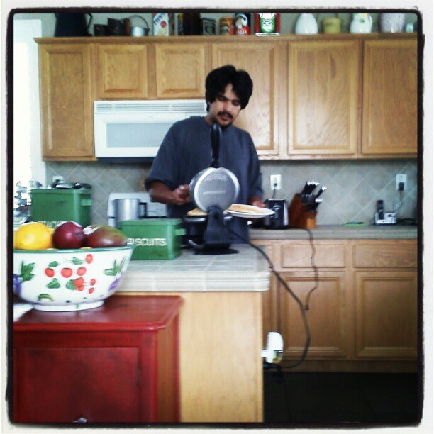 Bubbs making us waffles :) #lovehim