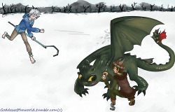 Jack Frost/Hiccup Day 02 - snowball fights