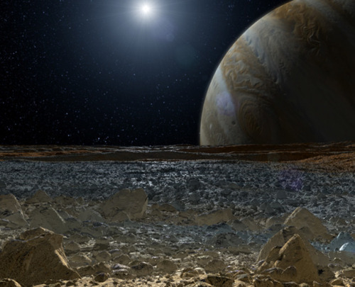 Genesis II: Extraterrestrial Oceans Could Host Life  by Ray Villard  At least six outer moons have subsurface oceans that could potentially be cozy places for life: Europa, Ganymede, Callisto, Titan, Enceladus and Triton. Each of them could have as much if not more water than found in all of Earth's oceans. In fact Earth is a comparatively dry world.   I say go go go to Europa!