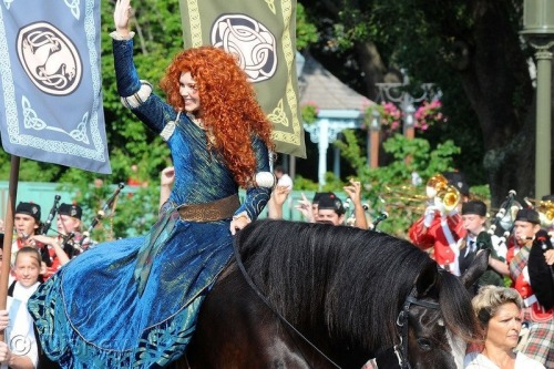 Merida on her way to her coronation today in front of Cinderella Castle at the Magic Kingdom.