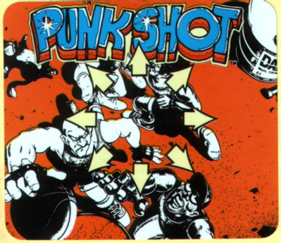 obscurevideogames:  decal for Punk Shot (Konami - arcade - 1990)  wacky basketball game where you can punch and kick your opponents