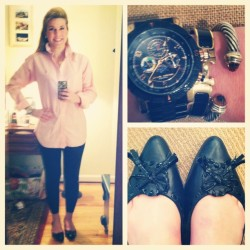 #ootd Leggings + OCBD + @jackrogersusa flats #casualfriday