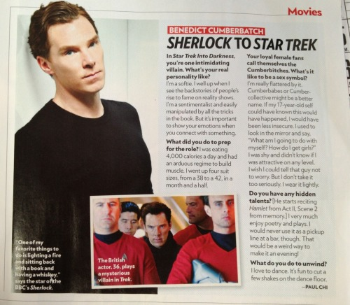 cumberbatchcoffeeklatch:  fangirlingicizing:  Benedict Cumberbatch in People magazine. :)  I'm happy to hear he can light a fire cause I suck at it. And I've never seen him as terribly HANDY at that sort of stuff.  Awwwed at pretty much all of his answers!
