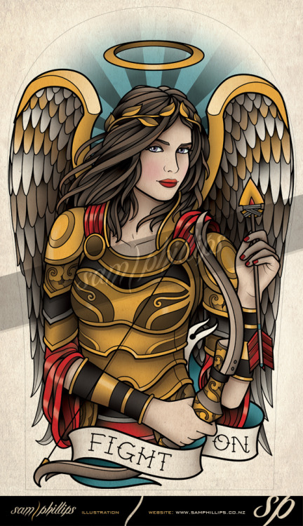 This is a warrior angel half sleeve tattoo design I created for Espen Thure. Espen gave me alot of freedom with this design which I really enjoyed. Copyright www.samphillips.co.nz