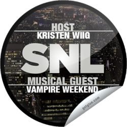 I just unlocked the Saturday Night Live: Kristen Wiig and Vampire Weekend sticker on GetGlue                      3603 others have also unlocked the Saturday Night Live: Kristen Wiig and Vampire Weekend sticker on GetGlue.com                  She's not a Bridesmaid anymore! Kristen Wiig is the lady of the hour as host of SNL with musical guest Vampire Weekend. Thanks for watching Saturday Night Live tonight! Share this one proudly. It's from our friends at NBC.