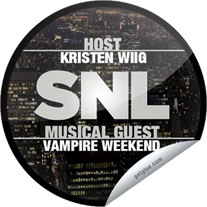 I just unlocked the Saturday Night Live: Kristen Wiig and Vampire Weekend sticker on GetGlue                      4370 others have also unlocked the Saturday Night Live: Kristen Wiig and Vampire Weekend sticker on GetGlue.com                  She's not a Bridesmaid anymore! Kristen Wiig is the lady of the hour as host of SNL with musical guest Vampire Weekend. Thanks for watching Saturday Night Live tonight! Share this one proudly. It's from our friends at NBC.