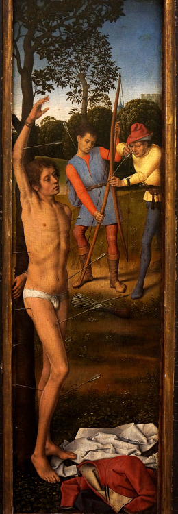 "Hans Memling - ""Saint Sebastian"" (Left Panel), from the Tryptich of the Resurrection; Musee du Louvre, Paris, France; 15th century"