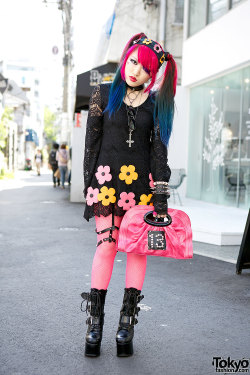 tokyo-fashion:  Lisa 13 w/ lace flower dress, flower headband & pink fishnets on the street in Harajuku.