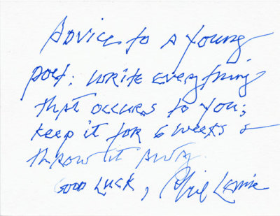 A line of advice from Philip Levine