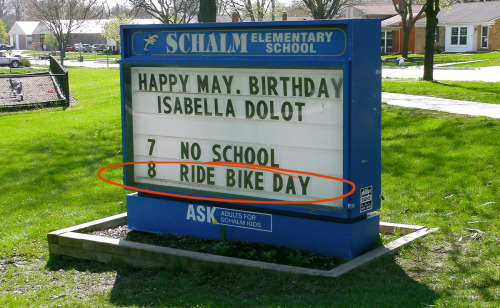 Way to Go Clawson! Bike To School Day May 8th! City of Clawson's Proclamation for National Bike to School Day! Bike to school day is part of the celebration of National Bike Month. The event is scheduled with a safety class for youngsters and adults, coupled with a cool bike ride meetup in the heart of town! Clawson recognized the growing interest in urban cycling and also that fewer children walk or bike to school compared to a generation ago. In 1969 48% of students grades K-8 walked or biked to school. In 2009 13% of students in grades K-8 walked or biked to school. Clawson recongnized that walking or biking gives children a sense of responsibility and independence and that the entire community benefits when there is  less car congestion and more bikers and pedestrians. School Superintendent Monique Beels, Mark Pollock our City Manager, Penny Luebs Mayor and Clawson Police Bike Officers will be riding bikes to school with the youngsters. For more information visit the City of Clawson's News PageAlso take a look at Clawson's Bike To School Day Proclamation