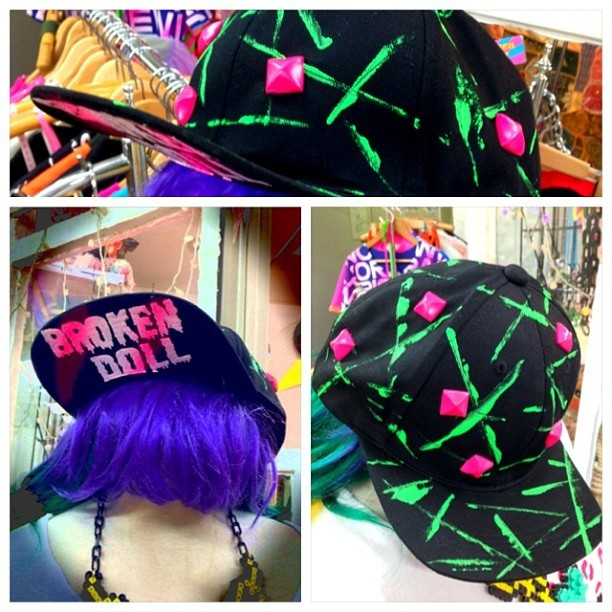 brokendoll-ken:  I had make vivid colored Cap! One-Off! It's hand-printed color! Price: 3800yen and shipping cost. I ship all over the world :) Please contact me! hurry hurry!