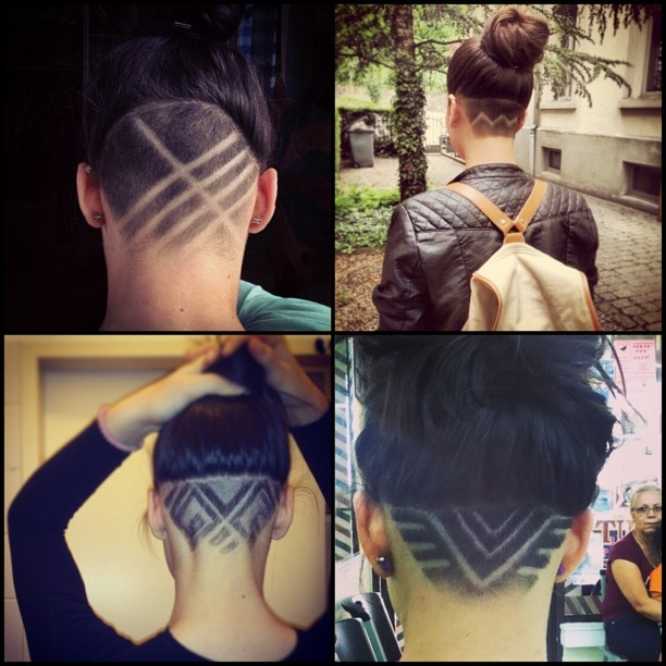 #napeshave #hair #tattoo #hairtattoo #hairdesign #undercut #undercut #zigzag #stripes #triangle #hairknot #bun #updo