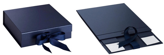 navy blue foldable gift boxes with ribbon from Gift Boxes Mart