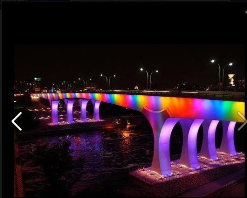 gay-men:  A bridge lit up in Minnesota last night, in support of the same sex marriage bill passing.