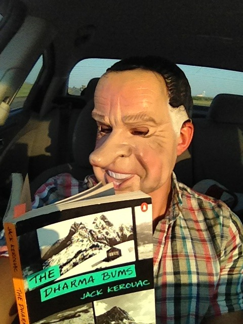 In honor of Presiden't Day. Me reading Dharma Bums in the Nixon mask.  Ironic, isn't it?