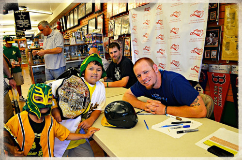 That moment when @joshreddick16 photobombs your photo with Brandon Moss on Flickr.This was a photo with Brandon Moss but Josh Reddick took complete ownership.