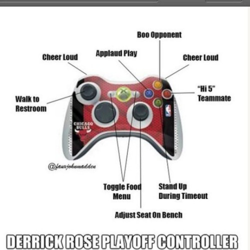 "thatskarma:  Derrick ""Soft As a"" Rose #bulls #drose #Xbox #NBA #lol"