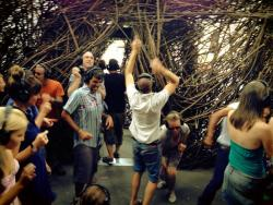 Melbourne embracing Stickwork with a pop-up silent disco!