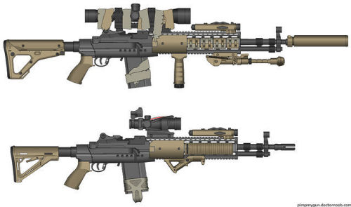 The MK14 EBR, i love this gun, i definitilly want to have at least one of these as an airsoft gun (These are also not the exact loadouts i want to go with i just like the fucking gun)