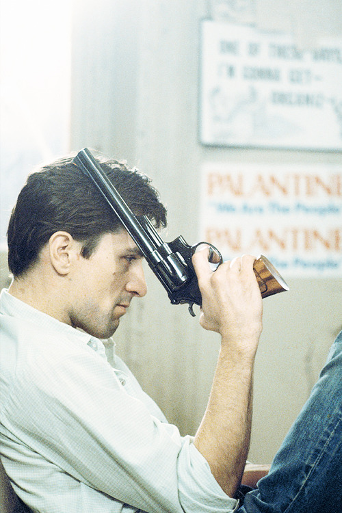 Robert De Niro on the set of Taxi Driver, photographed by Steve Schapiro, 1975.