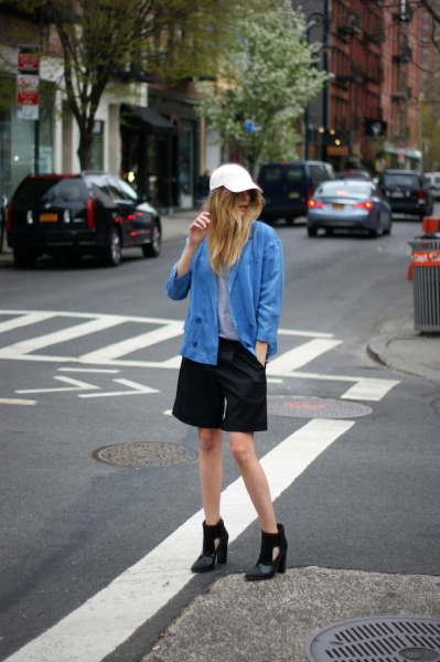 what-do-i-wear:  Tibi blazer, shorts and boots (Fall 13, try here instead)- James Perse t-shirt - Monki cap (image: camilleovertherainbow)