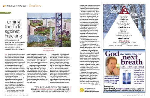 SPIRITUALITY & HEALTH magazine features my artwork illustrating an article about Sandra Steingraber.