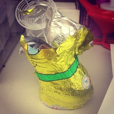 Not sure who left this chocolate bunny on my desk, but he is already down two ears and half his bunny face.