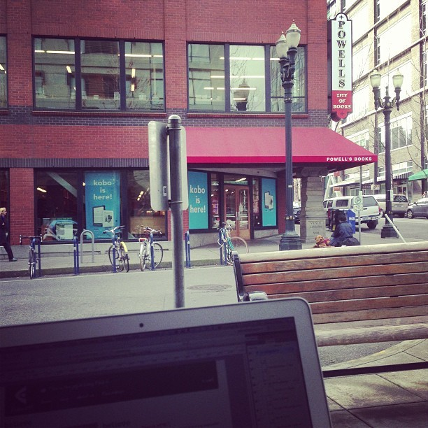 Outside Powell's books for a morning code jam session.