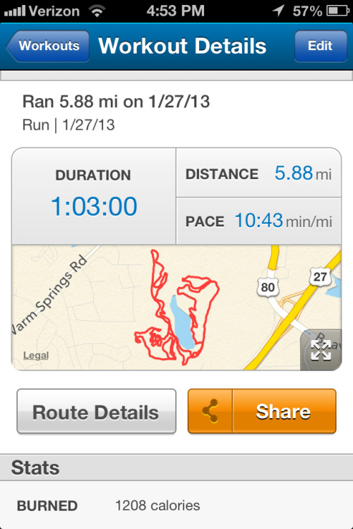 5.88 miles in the woods. 63 minutes, so I guess I'm ready for the 10K roadrace next Sunday.