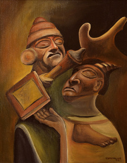 Moche Scholars, 16x20, oil and acrylic on canvas
