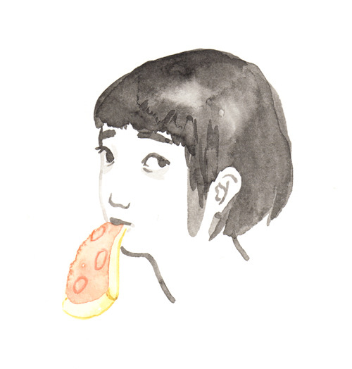 monicatramos:  A girl and her pizza. A self portrait.