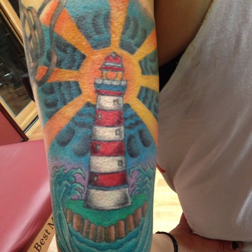 nodoubtnat:  @slutzville finished the lighthouse. At ink expressed!  i did this, its super swollen and looks distorted in this pic