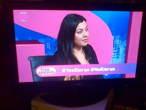 "I was on Free Speech on BBC 3 on Wednesday talking about youth unemployment, slut shaming, online privacy and equal marriage. Other people on the panel were Plaid Cymru leader Leanne Wood (love her) Shazia Awan, and Tory MP David Morris. Pic above is me throwing shade to Morris after he spouts some crap about young people just needing to ""make their own luck"" or some equally thick statement."