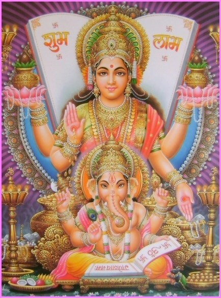 cosmic-rebirth:  Lakshmi and Ganesha.