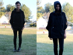 blackfashion:  French Terry Hooded Poncho: Sebby. Pants: Jennifer Lopez. Boots: Target. Ausharea, 20, GA   #Kyoot