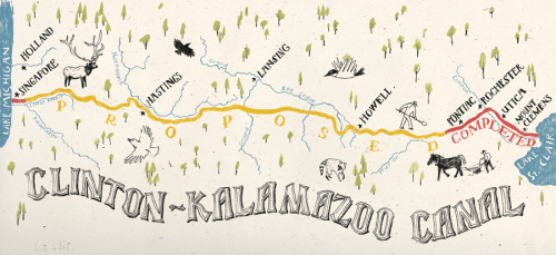 The Clinton-Kalamazoo Canal.  My first map illustration, a bit different from the projects that usually come my way, about a canal proposed in the 1800s to cut across southern Michigan and connect Lake Michigan to Lake Eerie.  They lost funding soon after construction began and only a small portion was actually completed.  Thanks to Cassidy Zobl and HOUR Detroit Magazine for the gig.