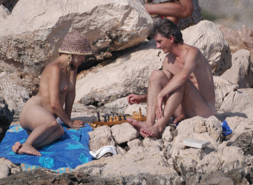 mixedgendernudity:  Playing naked chess at the beach of Croatia  think I'll move pawn3 to penis5