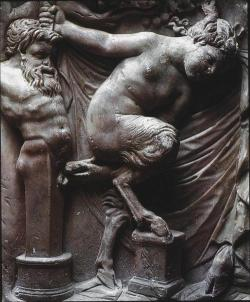 blackpaint20:  Sarcophagus with a Bacchanalia (detail), late 2nd century A.D., marble.  Museo Archeologico Nazionale, Naples  Circle of Marcantonio Raimondi, Female Satyr and a Herm of Priapus, 16th century, engraving.  The Illustrated Bartsch, volume 26