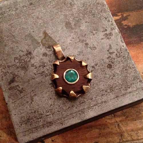 Something different. 14ky gold with emerald and walnut.  (at Ken Claude Lambert Jewelry)
