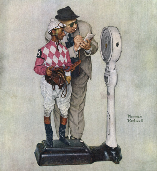 rogerwilkerson:  Weigh-In, art by Norman Rockwell.  Happy Preakness Day!