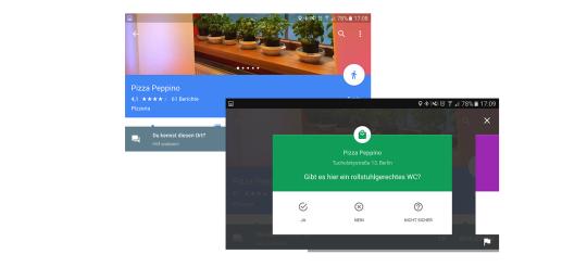 Screenshots der Google App, die nach Informationen zu einem Ort fragt