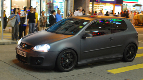 matte black Volkswagen VW GTI somewhere in Hong Kong, China source: rubert procter