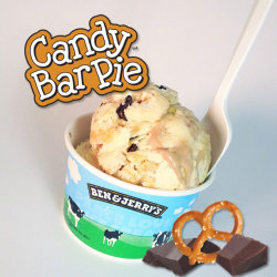 We give you Candy Bar Pie! Peanut butter ice cream with fudge flakes, chocolate nougat & sweet & salty pretzel swirls. Exclusively available at Ben & Jerry's Scoop Shops! It's brand new, so see if your local shop is scooping it today!