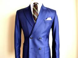 "The allure of cobalt blue! 4x2 Double Breasted jacket with wide peak lapel (3.5""). Pick stitching on patched pockets. By Franc Lloyd - Custom Menswear"