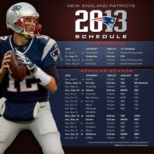The 2013 schedule has been released!